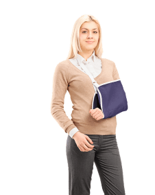 woman with arm in sling